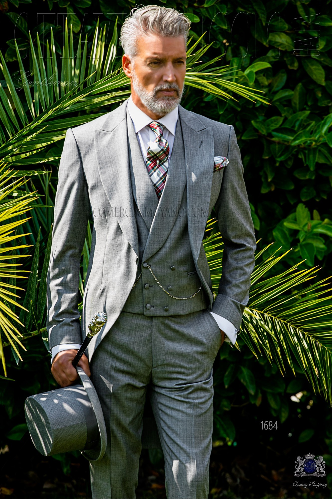 Italian bespoke morning suit wool mix light grey fil-a-fil