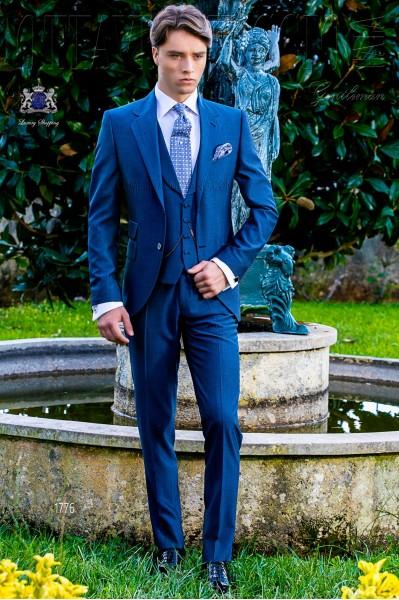 Royal blaue Herren Anzug Mohair Wollmischung Alpaka