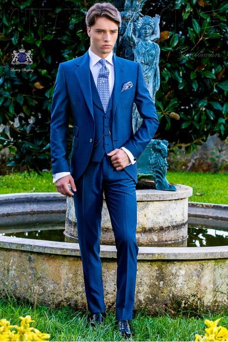 Bespoke royal blue suit mohair wool alpaca