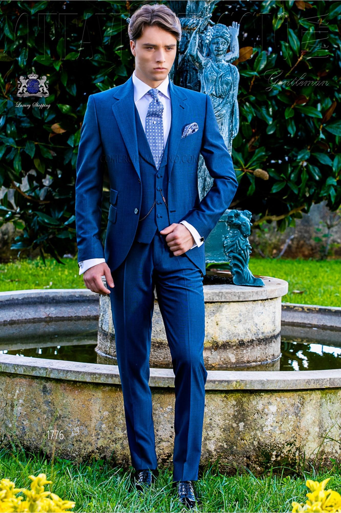 frische Stile billiger Verkauf Straßenpreis Royal blaue Herren Anzug Mohair Wollmischung Alpaka