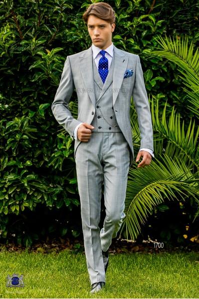 Chaqué de novio príncipe de gales gris y celeste