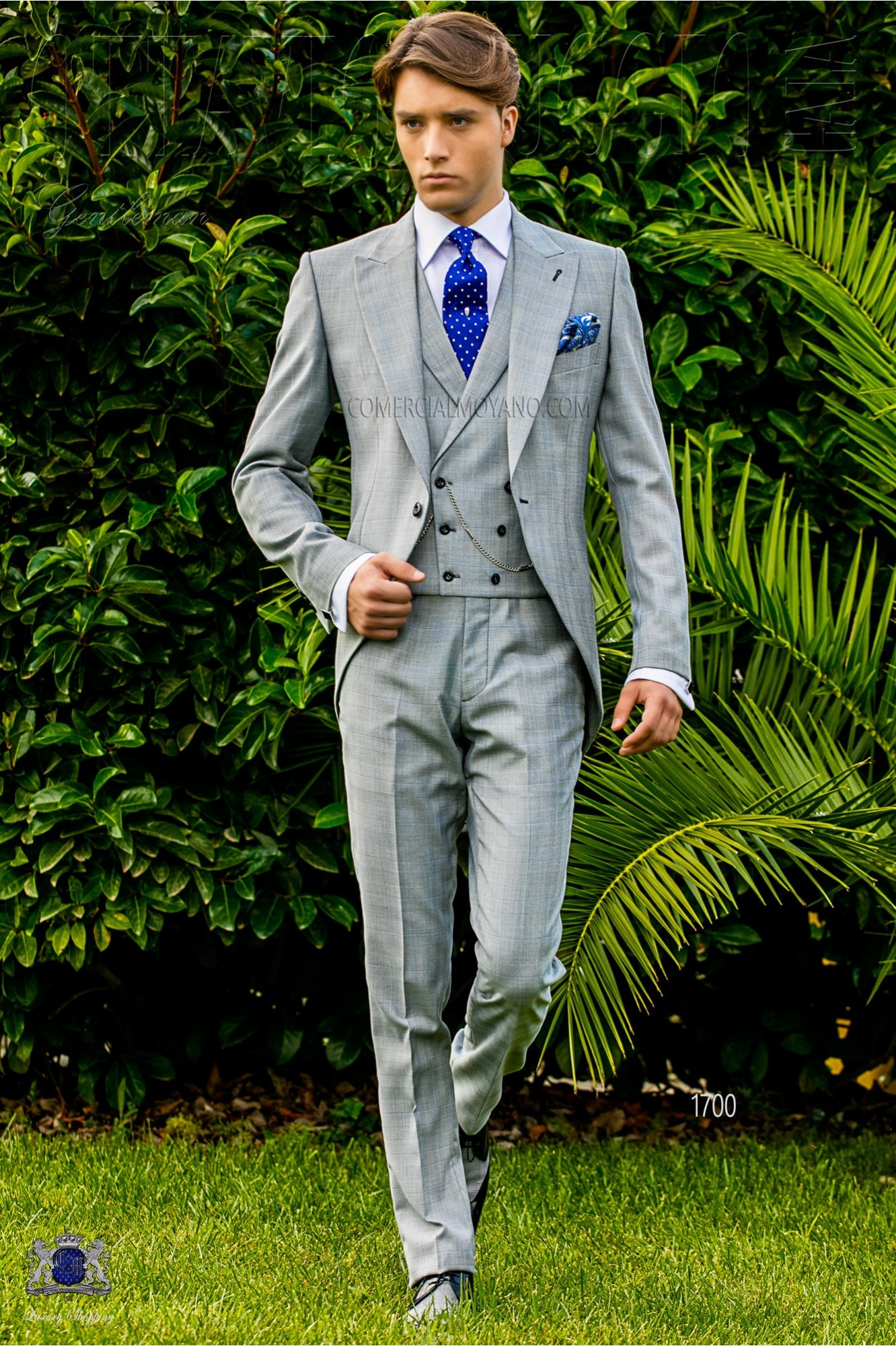 Bespoke Prince of Wales morning suit grey and light blue model 1700 Ottavio Nuccio Gala