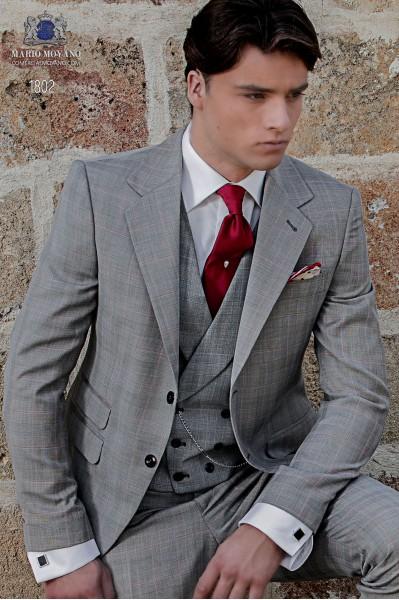 Traje de novio Príncipe de Gales gris claro