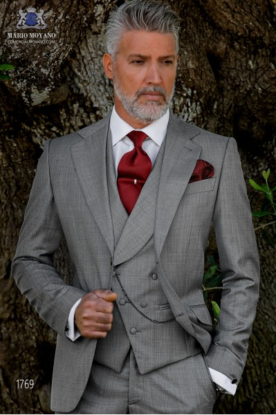 Italian bespoke suit light grey fil a fil wool mix