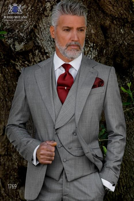 Italian bespoke suit light grey fil a fil wool mix
