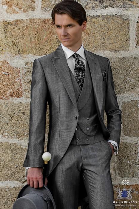 Bespoke light grey morning suit mohair wool mix alpaca