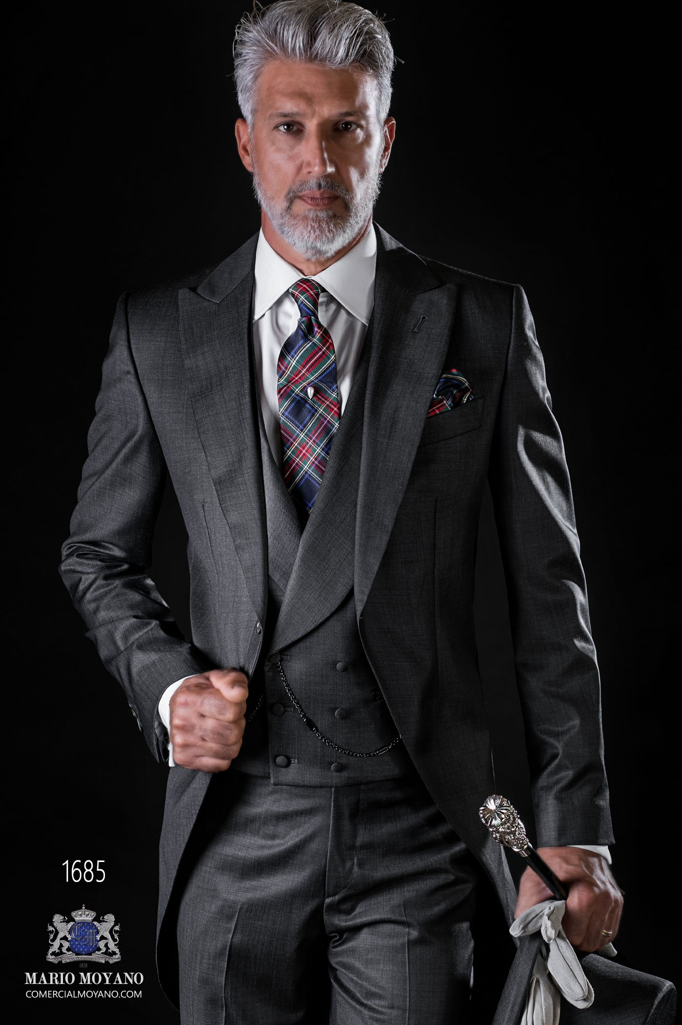 Italian bespoke morning suit wool mix dark grey fil-a-fil model 1685 Ottavio Nuccio Gala