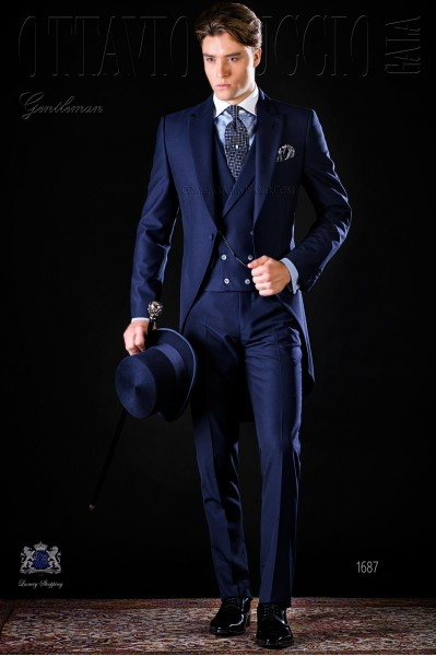 Bespoke blue morning suit mohair wool mix alpaca