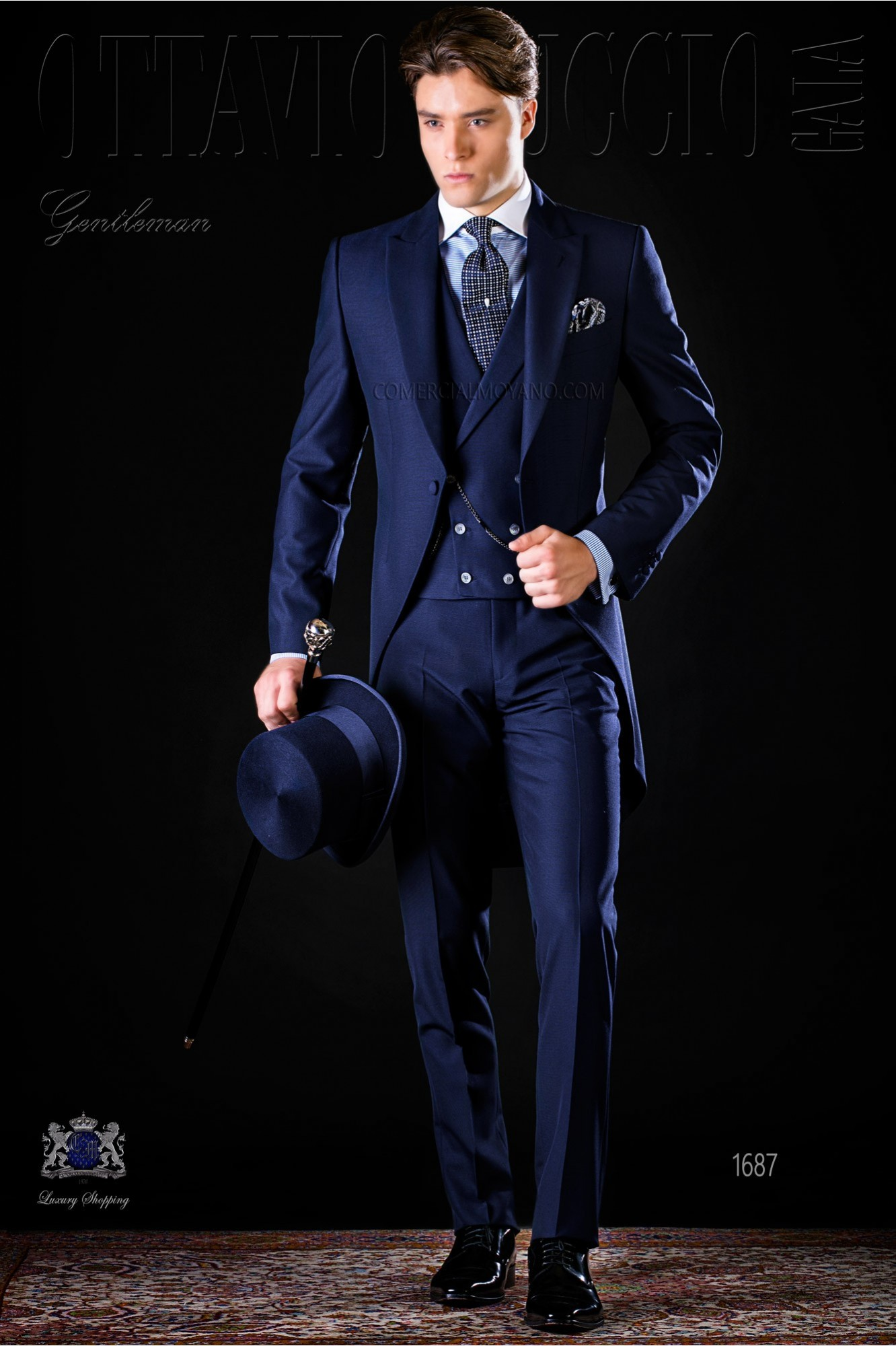 Bespoke blue morning suit mohair wool mix alpaca model 1687 Ottavio Nuccio Gala