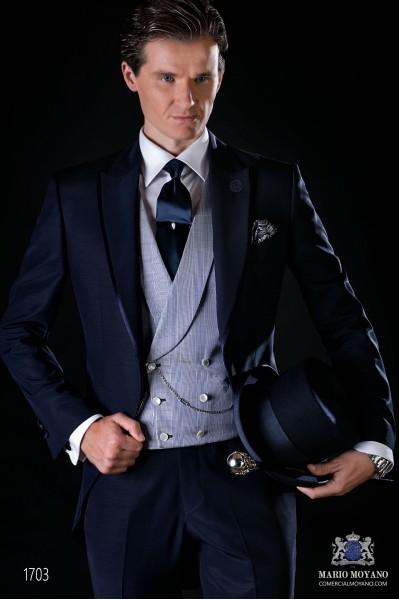 Blaue Cut Bräutigam Anzug aus Wollmischung