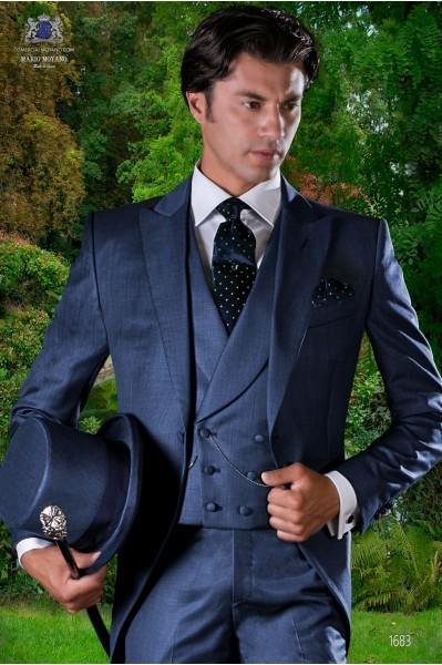 Italian bespoke wool mix blue fil-a-fil morning suit