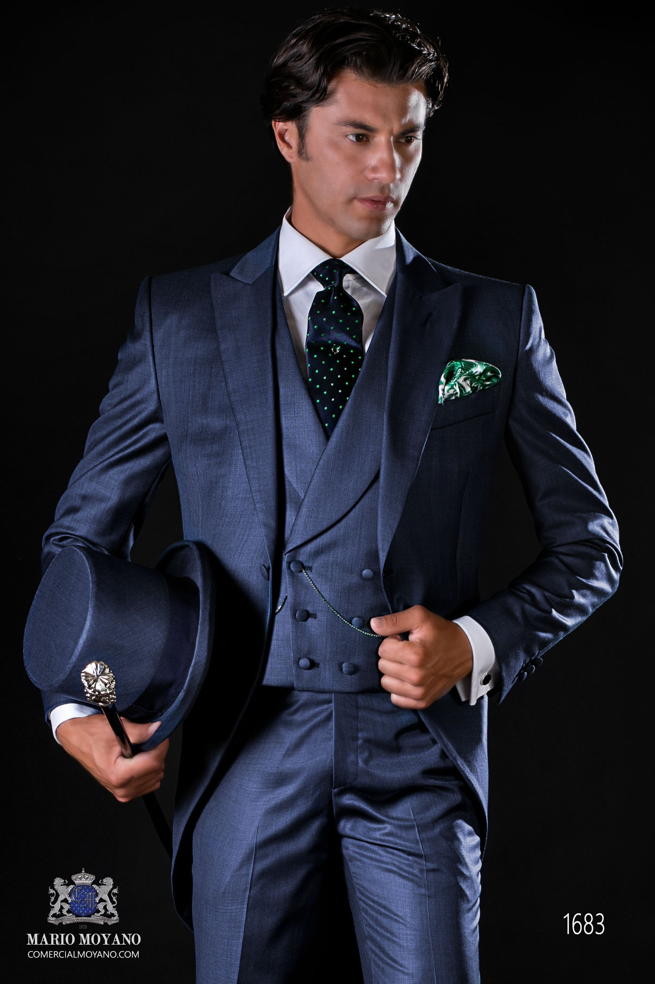Italian bespoke wool mix blue fil-a-fil morning suit