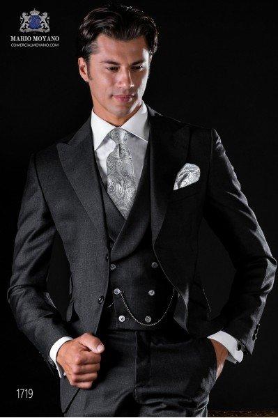 Traje italiano a medida gris antracita sarga pura lana