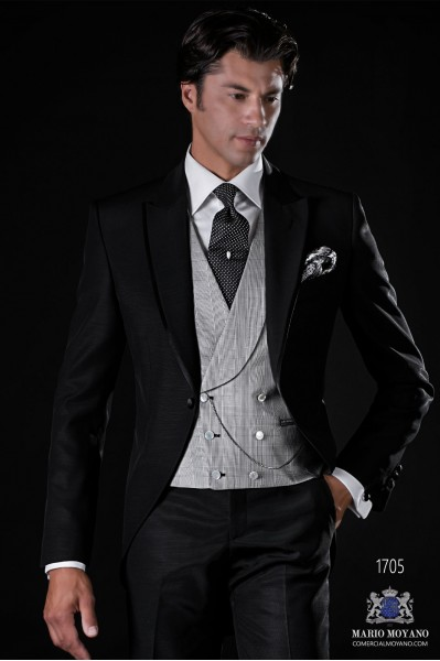 Italian bespoke black wool mix morning suit