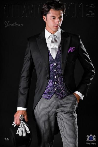 Chaqué clásico de novio negro fresco lana con pantalón de etiqueta.