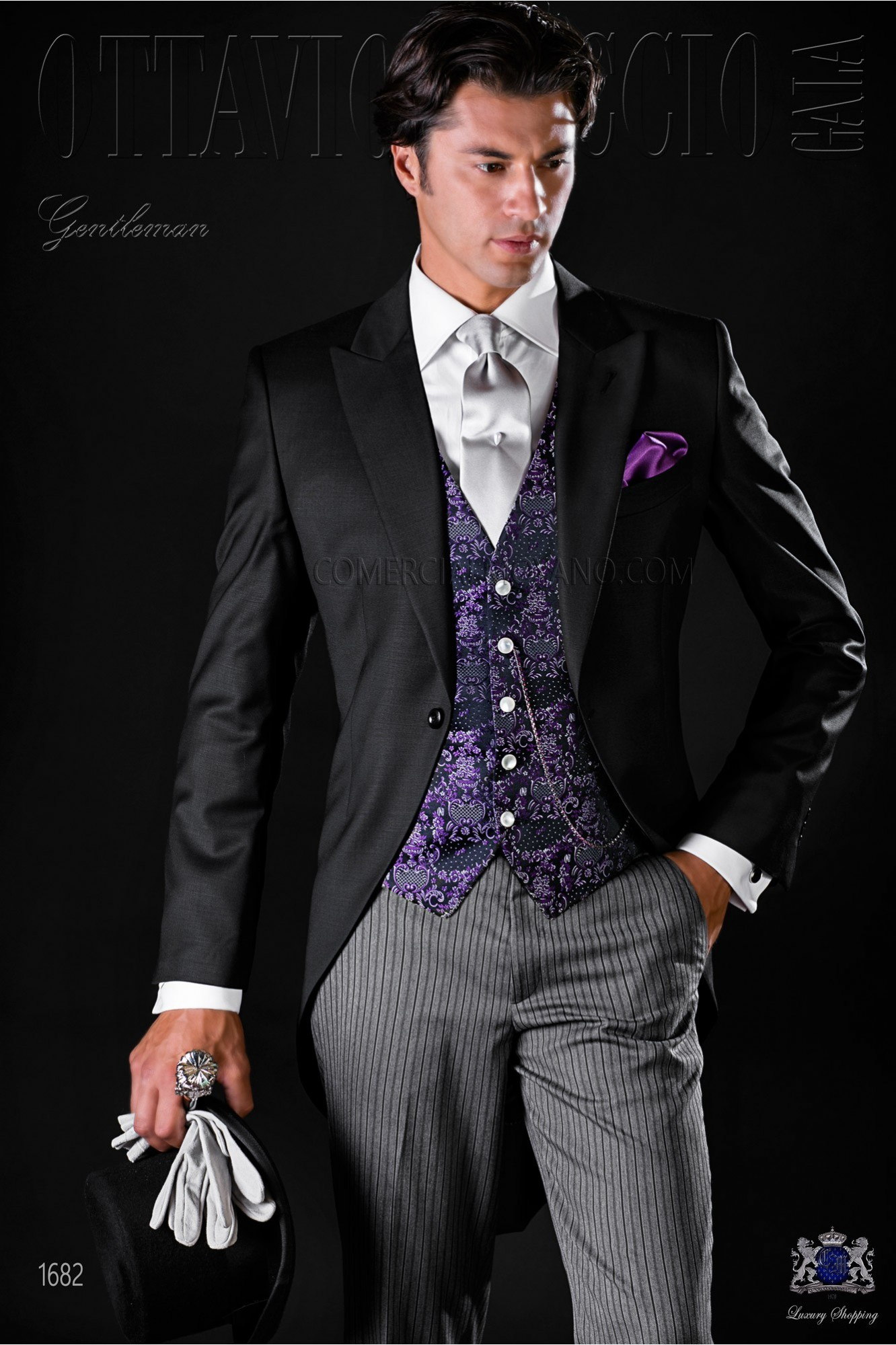 Italian bespoke cool wool black morning suit