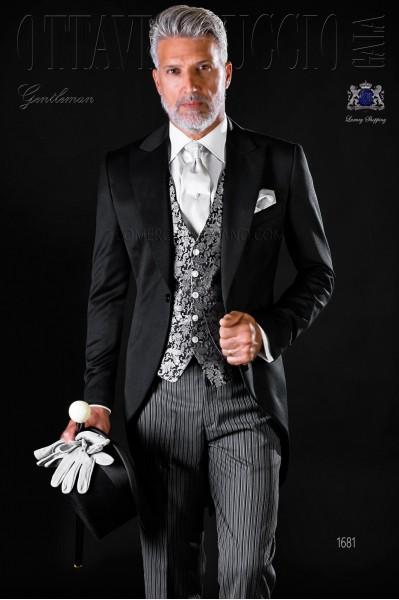 Chaqué clásico negro pura lana con pantalón de etiqueta