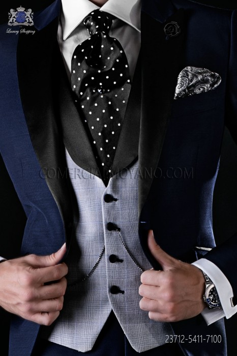 Groom waistcoat. Straight fabric Prince of Wales design and Italian style, with flaps vest. Gentleman vest