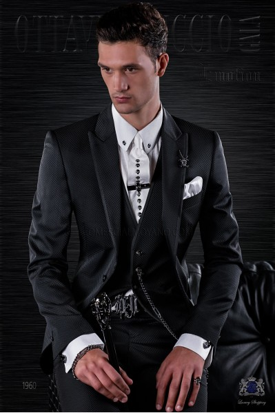 Fashion italian bespoke suit black micro design with waistcoat