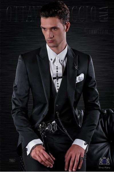 Traje de moda italiano a medida negro microdiseño con vivos de raso