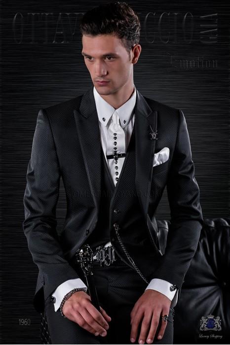 Fashion italian bespoke suit black micro design with waistcoat