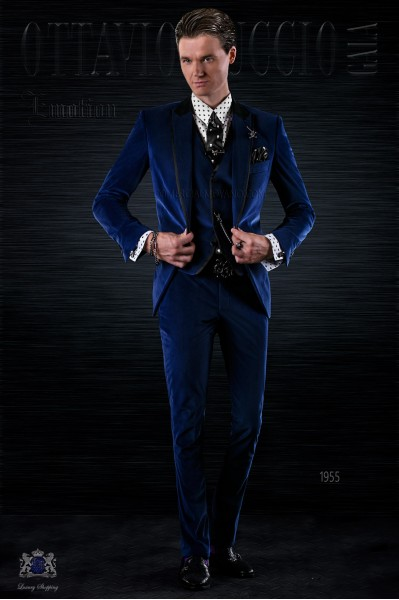 Bespoke Italian fashion blue velvet suit with black satin details