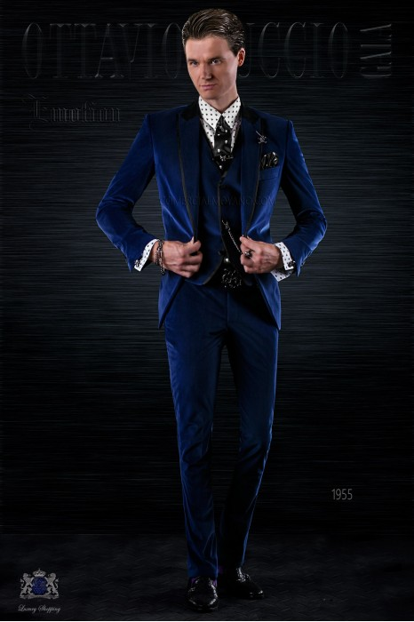 Bespoke Italian fashion blue velvet suit with black satin details