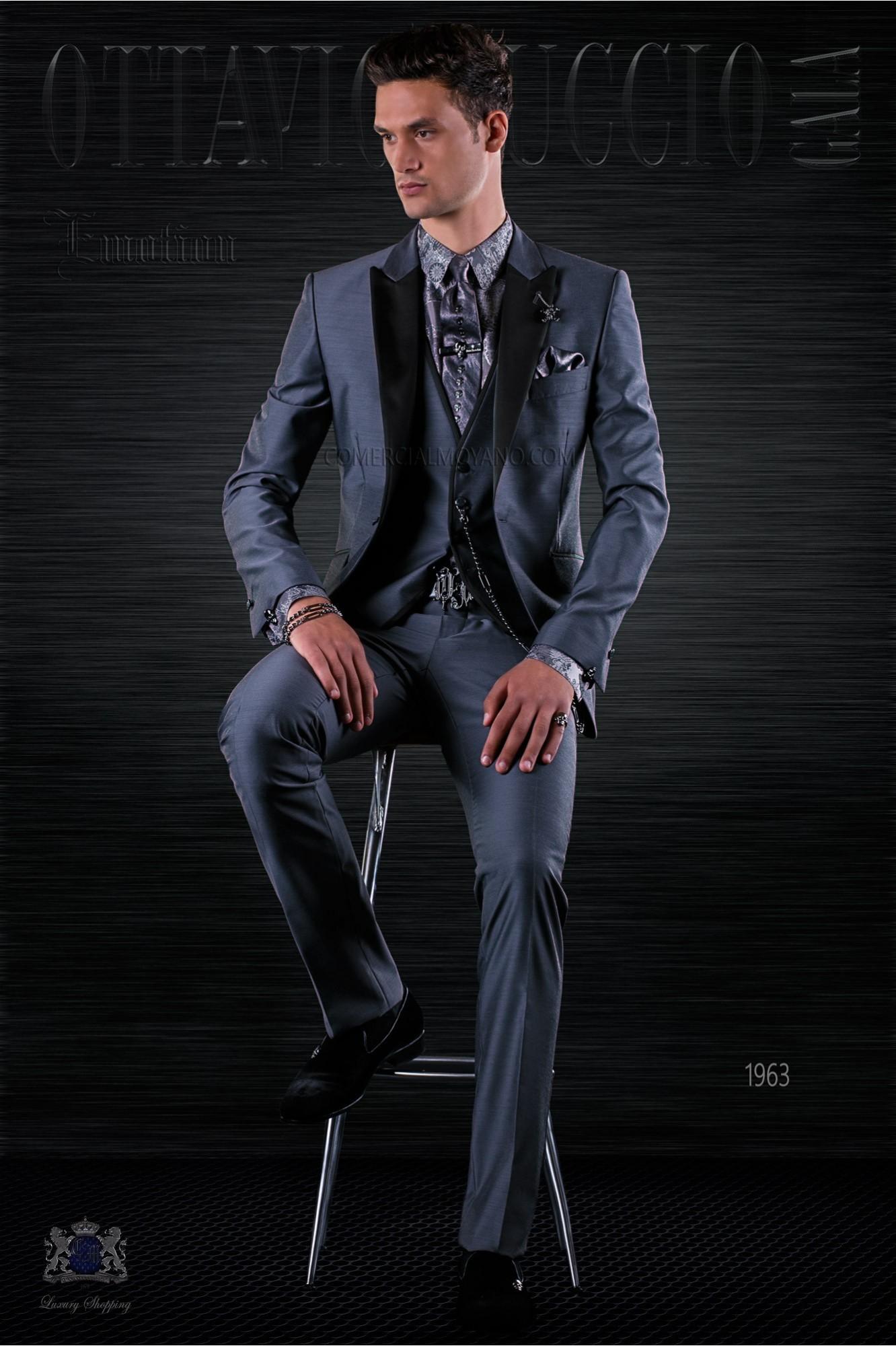 Traje de moda italiano a medida gris antracita