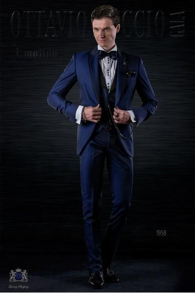Traje de moda italiano a medida azul eléctrico microdiseño