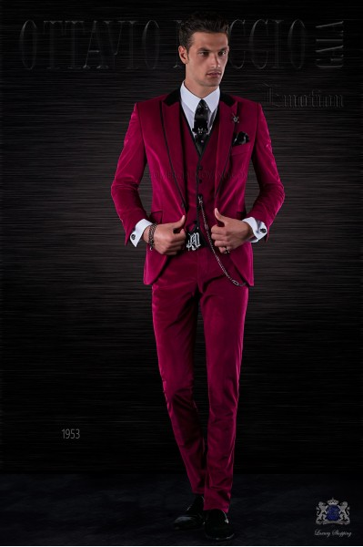Bespoke Italian fashion fuchsia velvet suit with black satin details
