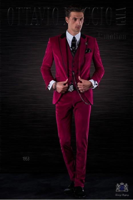 Bespoke Italian fashion fuchsia velvet suit with black satin details