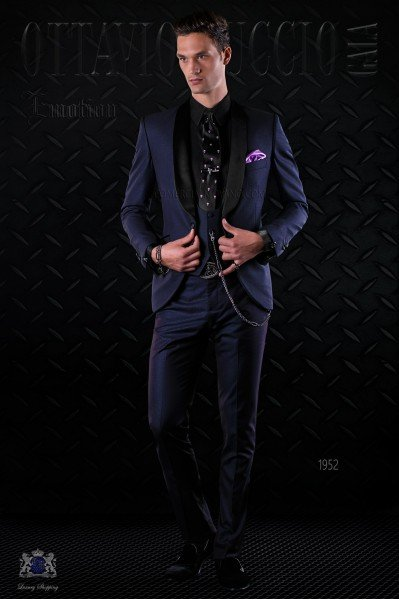Bespoke Italian fashion tuxedo shiny dark blue