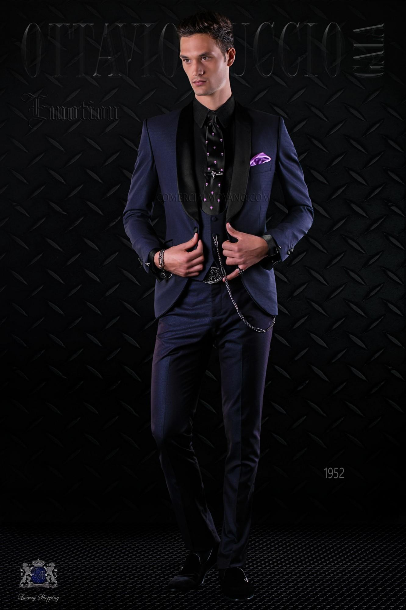 Esmoquin de moda italiano a medida azul con solapa chal de raso