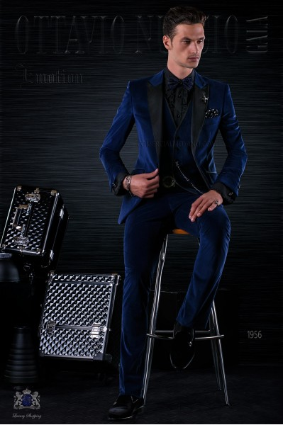 Bespoke Italian fashion blue velvet suit with black satin peak lapels
