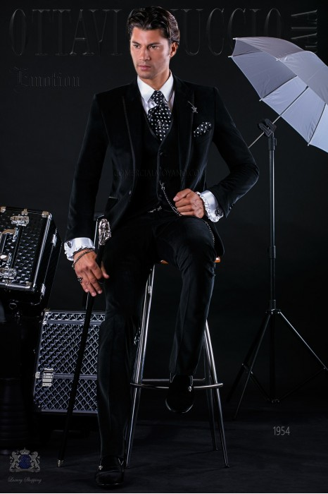 Bespoke Italian fashion black velvet suit with satin details