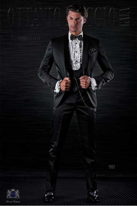 Fashion italian bespoke tuxedo black micro design with shawl collar