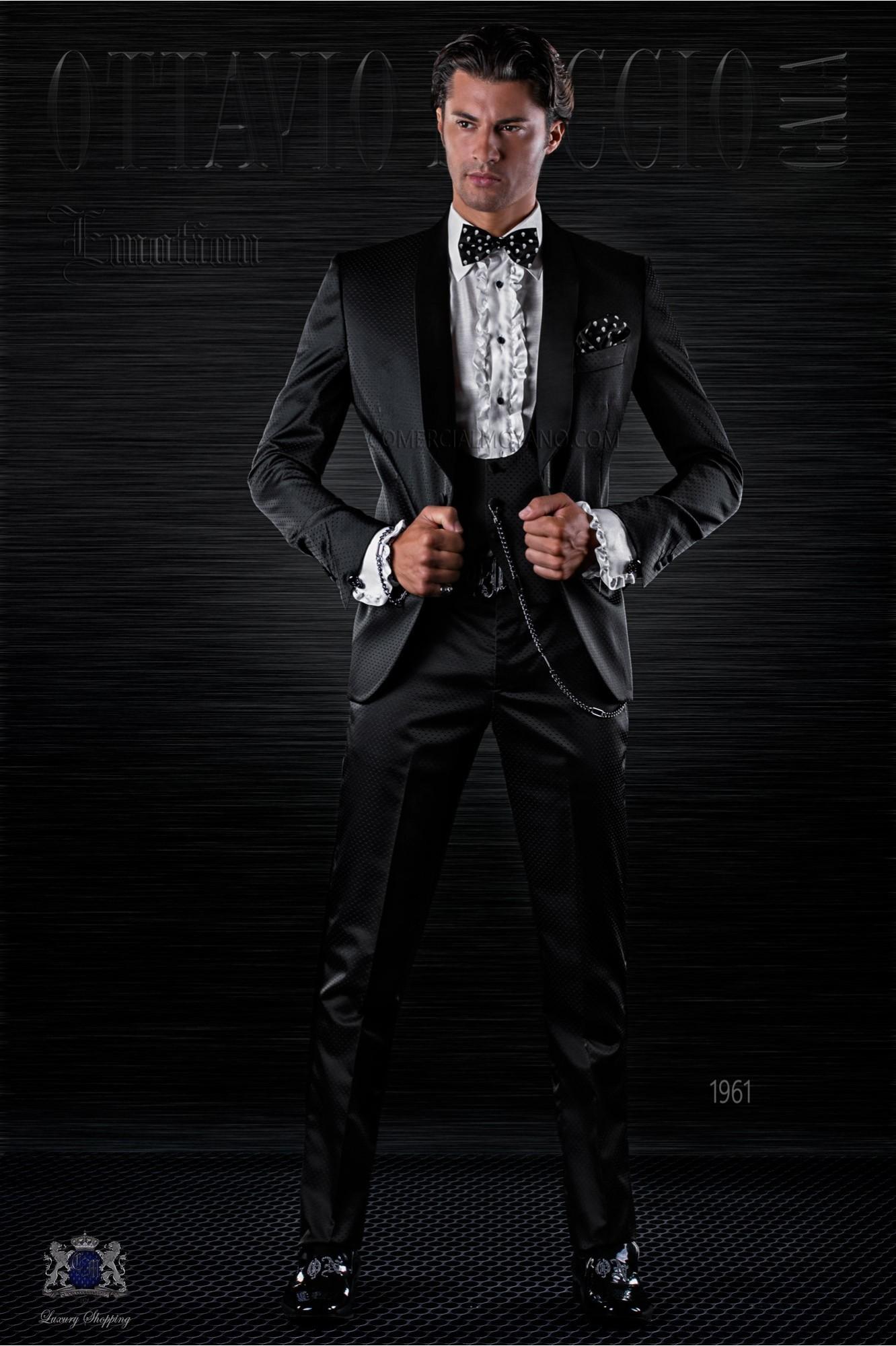 Esmoquin de moda italiano a medida negro microdiseño