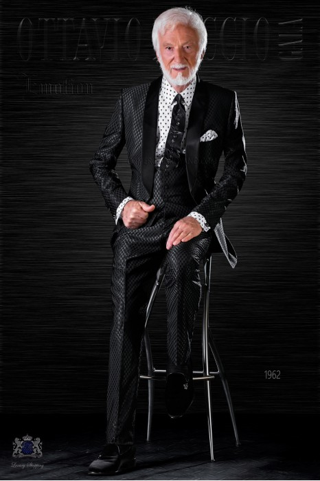 Fashion bespoke tuxedo black monochrome design with shawl collar