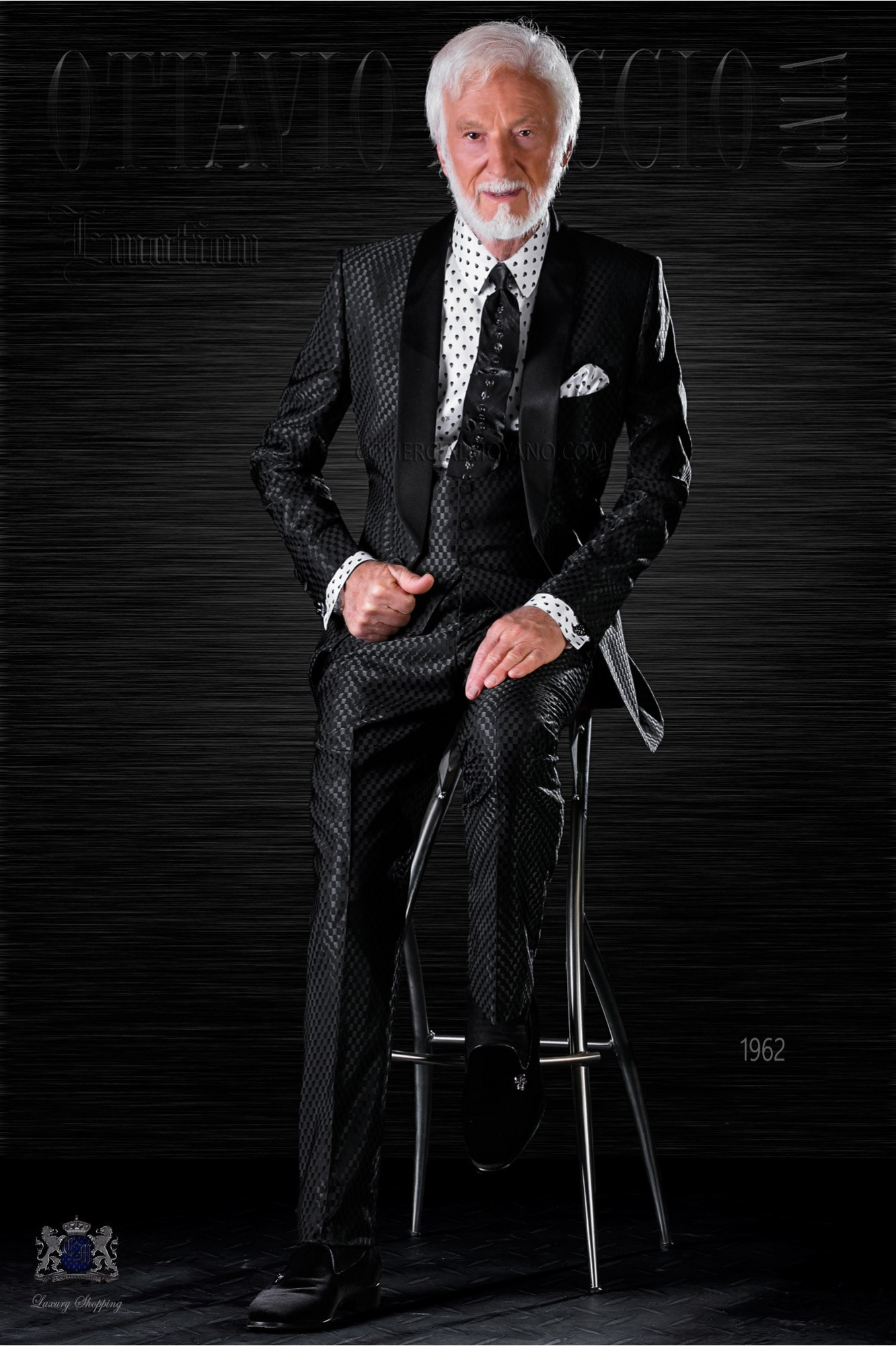 Fashion bespoke tuxedo black monochrome design with shawl collar model 1962 Ottavio Nuccio Gala