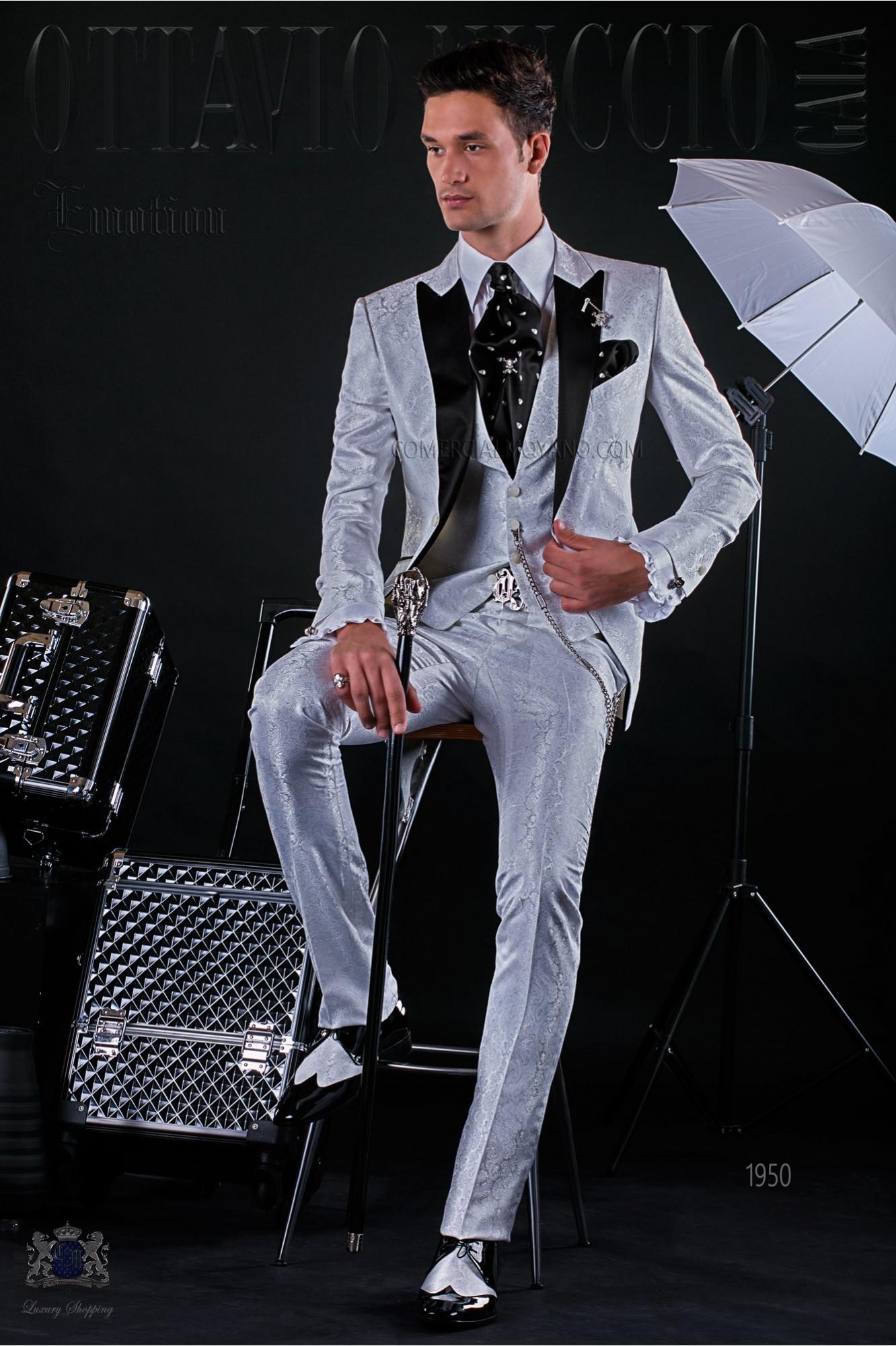 Italian fashion bespoke suit white jacquard with black satin peak lapels