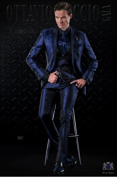 Italian fashion bespoke blue gothic jacquard suit