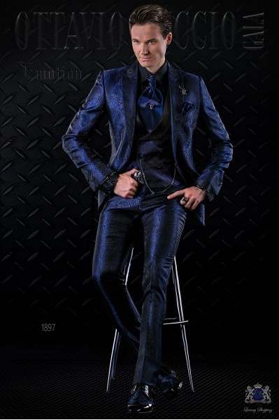 Traje de moda italiano a medida gótico de jacquard azul