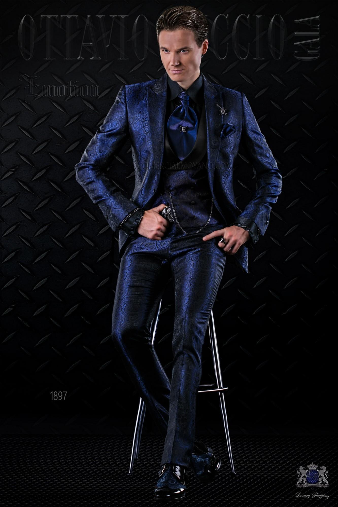 Traje de moda italiano a medida gótico de jacquard azul modelo: 1897 Ottavio Nuccio Gala colección Emotion