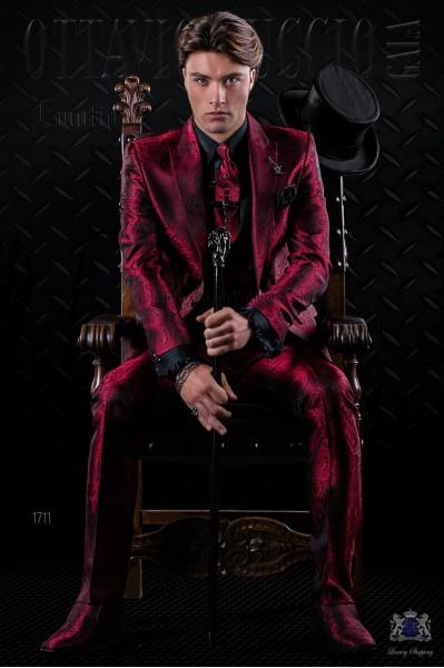 Traje de moda italiano a medida de jacquard rojo gótico
