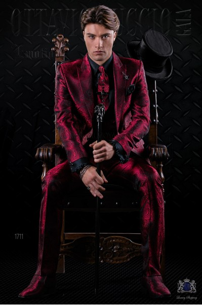 Italian fashion bespoke red gothic jacquard suit
