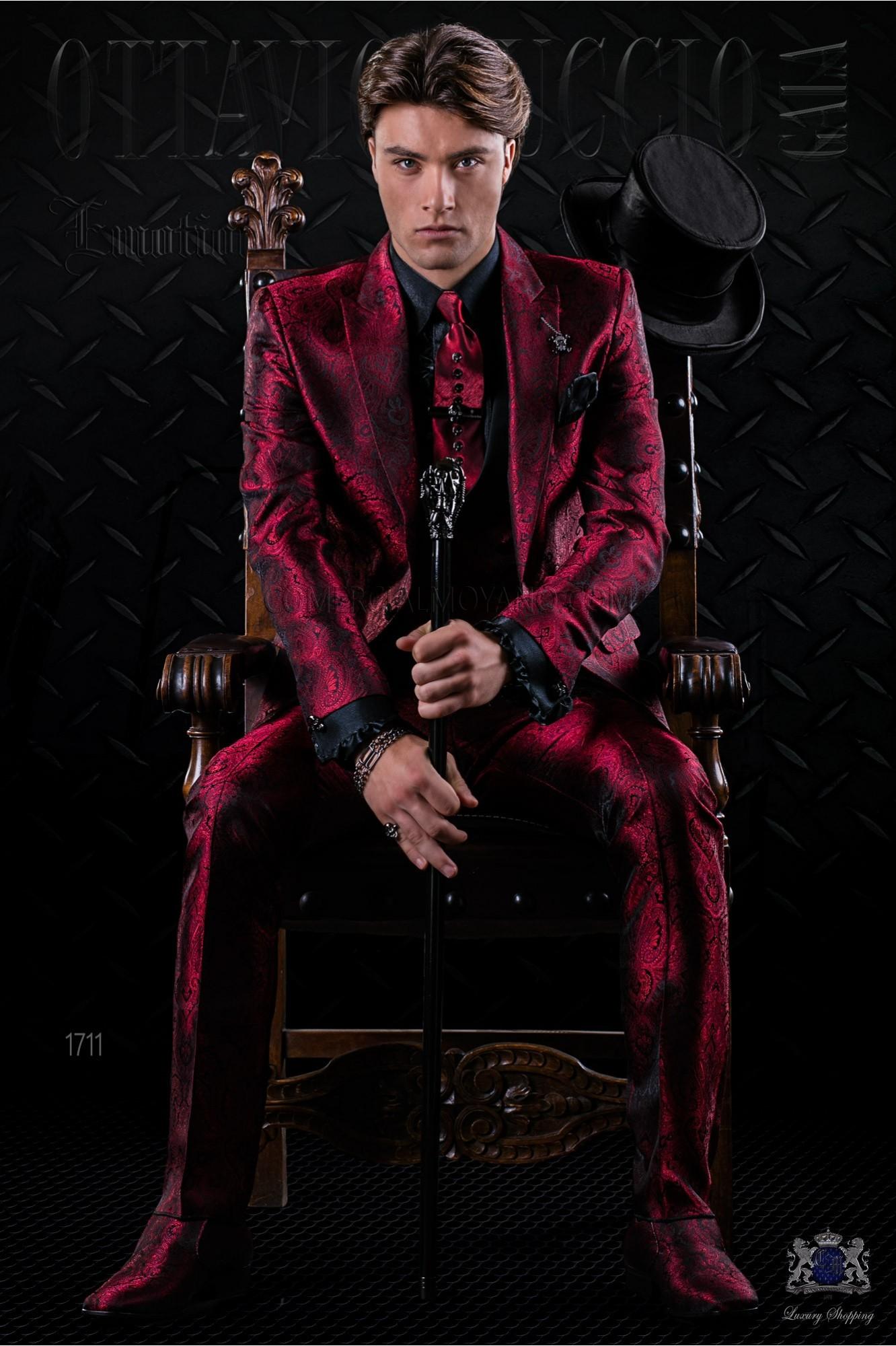 Italian fashion bespoke red gothic jacquard suit