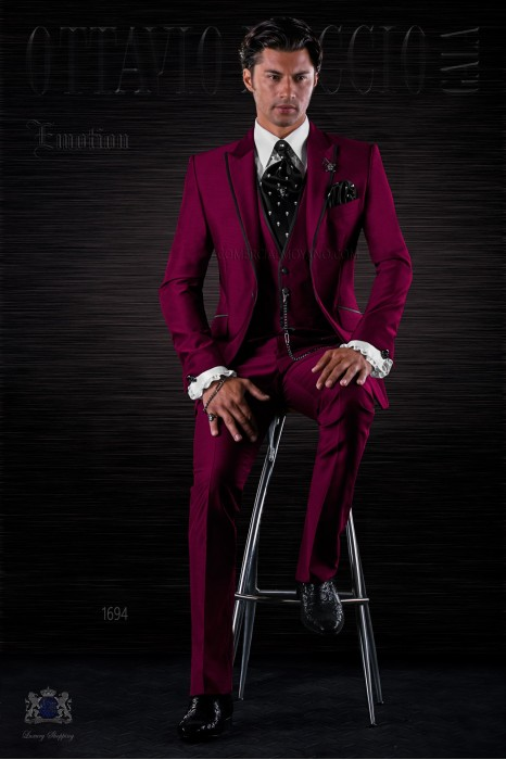 Fashion burgundy italian bespoke 3 pieces suit with black satin details