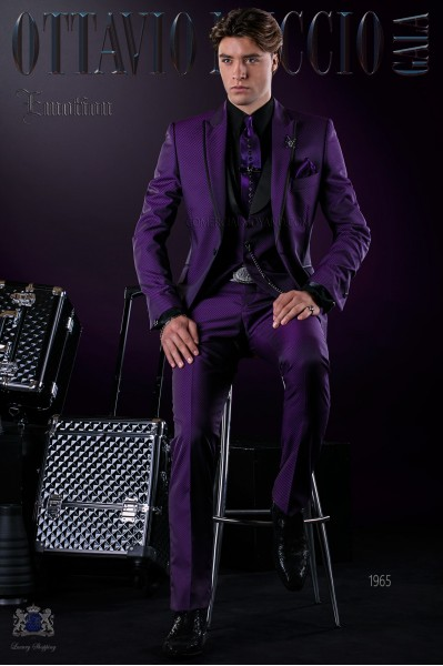 Italian fashion bespoke suit purple micro design