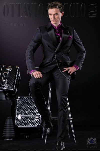 Bespoke Italian double breasted fashion suit black shiny