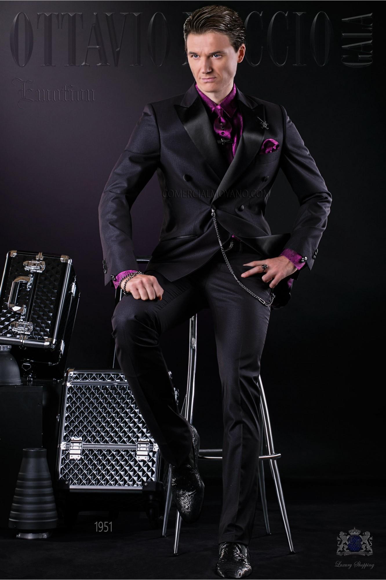 Bespoke Italian double breasted fashion suit black shiny